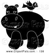 Pal Clipart of a Silhouetted Bird Standing on a Hippo's Back by Pams Clipart