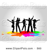 June 21st, 2013: Pal Clipart of a Silhouetted Club Dancers Partying over Colorful Splatters by KJ Pargeter