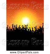 Pal Clipart of a Silhouetted Concert Crowd over Orange by KJ Pargeter
