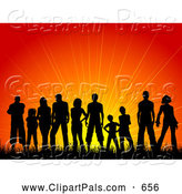 Pal Clipart of a Silhouetted Crowd Against a Warm Sunset by KJ Pargeter