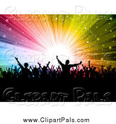 Pal Clipart of a Silhouetted Crowd Celebrating over a Colorful Star Burst by KJ Pargeter