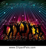 Pal Clipart of a Silhouetted Crowd Dancing Under Colorful Lights by KJ Pargeter