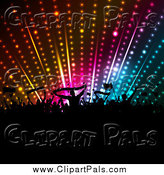 Pal Clipart of a Silhouetted Crowd Holding Banners and Flags Under Disco Lights by KJ Pargeter