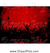 Pal Clipart of a Silhouetted Crowd in Red and Black Grunge by KJ Pargeter