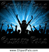 Pal Clipart of a Silhouetted Crowd of Fans over a Blue Burst by KJ Pargeter