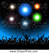 Pal Clipart of a Silhouetted Crowd of People Under Fireworks by KJ Pargeter