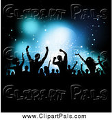 Pal Clipart of a Silhouetted Crowd over Blue Stage Lighting by KJ Pargeter