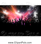Pal Clipart of a Silhouetted Crowd over Stars and Bursts by KJ Pargeter