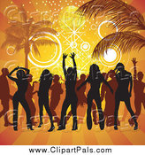 Pal Clipart of a Silhouetted Crowd Partying on a Beach by Dero