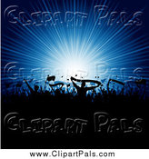 Pal Clipart of a Silhouetted Crowd with Flags and Banners Against a Blue Burst by KJ Pargeter