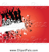 Pal Clipart of a Silhouetted Dancers on a Floral Grunge Box over Red by KJ Pargeter