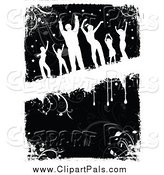 Pal Clipart of a Silhouetted Dancers over Black and White Grunge by KJ Pargeter