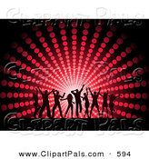 Pal Clipart of a Silhouetted Dancing Group of People Against a Red Halftone Circle Background by KJ Pargeter