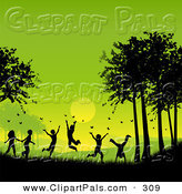 Pal Clipart of a Silhouetted Group of Children Playing and Chasing Butterflies Against a Green Summer SunsetSilhouetted Group of Children Playing and Chasing Butterflies Against a Green Summer Sunset by KJ Pargeter