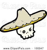 Pal Clipart of a Skull Wearing a Sombrero Hat by Lineartestpilot
