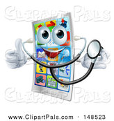 Pal Clipart of a Smart Phone Character Holding a Thumb up and Wearing a Stethoscope by AtStockIllustration