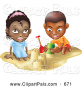 Pal Clipart of a Smiling Black Boy and Girl Building Sand Castles Together by AtStockIllustration