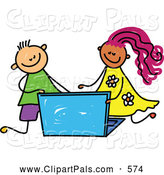 Pal Clipart of a Smiling Boy and Girl Using a Laptop by Prawny