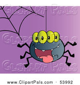 Pal Clipart of a Smiling Spider with Four Eyes by Hit Toon