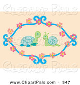 Pal Clipart of a Snail and Tortoise Talking in a Circle of Flowers on Tan by Cherie Reve