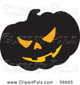 Pal Clipart of a Spooky Carved Halloween Jackolantern Pumpkin by Visekart