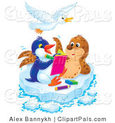 Pal Clipart of a Spotted Seal Posing for a Penguin Artist on a Sheet of Ice, a Bird Flying Above by Alex Bannykh