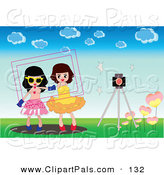 Pal Clipart of a Spring Frame Around Two Girls by a Camera Outdoors. by Mayawizard101