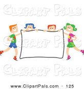 Pal Clipart of a Square Head Children Holding a Sign on White by Prawny