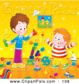 Pal Clipart of a Stack of Toy Blocks Falling While Two Boys Play by Alex Bannykh