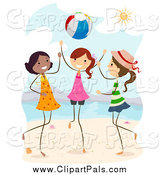 Pal Clipart of a Stick Girls Playing with a Ball on a Beach by BNP Design Studio