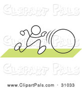Pal Clipart of a Stick Man in a Hula Hoop Race over Green by Johnny Sajem
