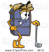 Pal Clipart of a Suitcase Luggage Cartoon Character Leaning on a Golf Club While Golfing by Toons4Biz