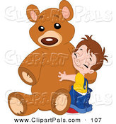 Pal Clipart of a Sweet Boy Hugging His Giant Brown Teddy Bear by Yayayoyo
