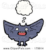 Pal Clipart of a Thinking and Flying Vampire Bat by Lineartestpilot