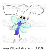 Pal Clipart of a Thinking Dragonfly by Graphics RF