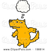 Pal Clipart of a Thinking Orange Wolf by Lineartestpilot