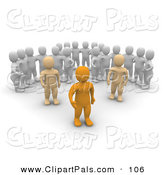 Pal Clipart of a Three Groups of 3d Blanco Men Watching Anaranjado Men on White by Jiri Moucka