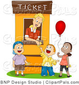 Pal Clipart of a Ticket Booth Woman Helping Three Kids by BNP Design Studio