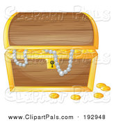 Pal Clipart of a Treasure Chest with Pearls and Gold by Graphics RF