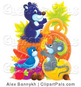 Pal Clipart of a Trio of Animals, a Cute Mouse, Gopher and Bird with an Abundant Amount of Veggies by Alex Bannykh