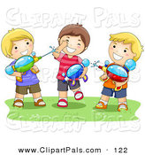 Pal Clipart of a Trio of Boys Playing with Water Squirt Guns by BNP Design Studio