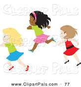 Pal Clipart of a Trio of Caucasian and African American Girls Running by Rosie Piter
