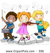 Pal Clipart of a Trio of Diverse School Kids Playing Instruments on a Keyboard by BNP Design Studio