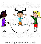 Pal Clipart of a Trio of Diverse Stick Girls Jumping Rope by Pams Clipart