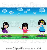 May 2nd, 2013: Pal Clipart of a Trio of Girls Playing with a Jump Rope Outside by Mayawizard101