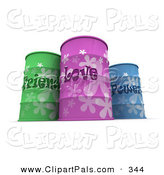 Pal Clipart of a Trio of Green, Purple and Blue Emotion Barrels by Frank Boston