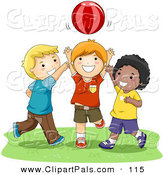 Pal Clipart of a Trio of Happy Boys Playing Catch with a Ball by BNP Design Studio