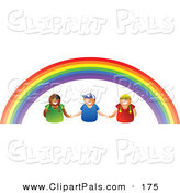 Pal Clipart of a Trio of Kids Holding Hands Under a Rainbow by Prawny