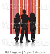 Pal Clipart of a Trio of Silhouetted Adults Against a Red and Pink Striped Background by KJ Pargeter