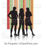 Pal Clipart of a Trio of Silhouetted Adults Against an Orange Striped Background by KJ Pargeter
